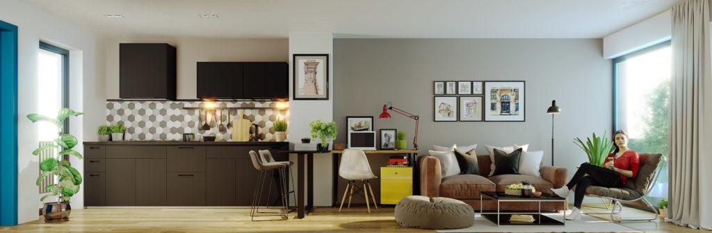 3c visualisering av stue kjøkken i ett