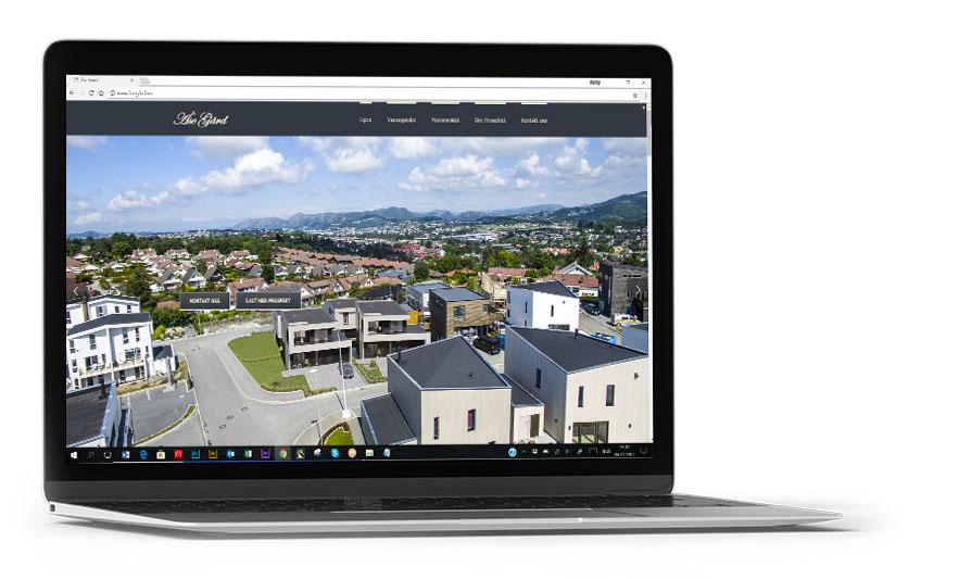 Nettsider, basert på 3d-visualiseringer og eiendomsinformasjon