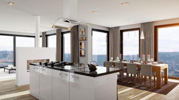 3d visualisering av eksklusiv leilighet i Holmenkollen