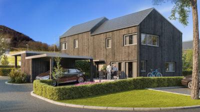 3d visualisering av prosjektet Hus i Hage