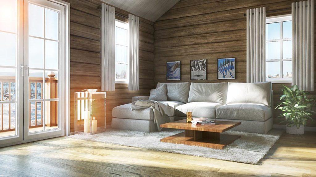 3d visualisering av hytte på Sjusjøen