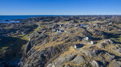 Luftfot av Moivika hyttefelt