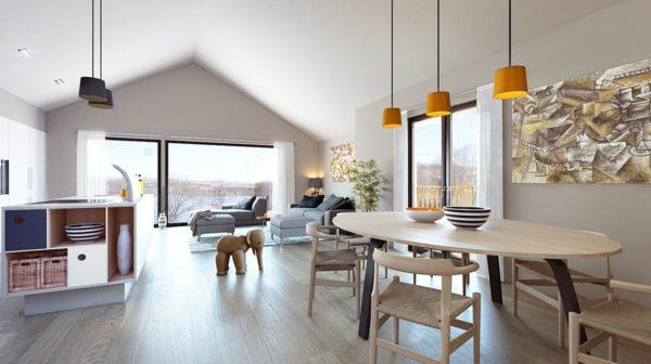 3d visualisering av stue kjøkken til enebolig på Tjødna